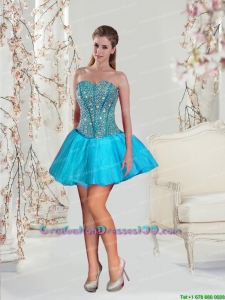 2015 Most Popular Beading Graduation Dresses in Aqua Blue