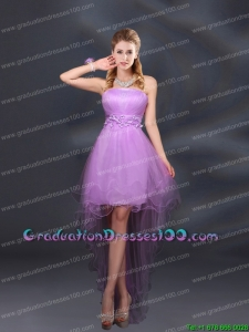Appliques and Ruffles A Line Strapless Group Buying Graduation Dresses