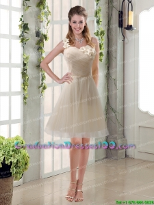 Champagne Ruched Handmade Flowers One Shoulder 2015 Plus size Graduation Dresses