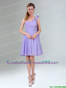 Gorgeous Mini Length Lavender Group Buying Graduation Dresses with Ruching and Handmade Flower