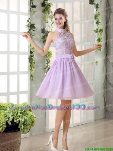 Modest High Neck Lilac A Line Lace Graduation Dress Chiffon for 2015