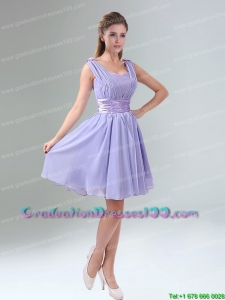 Modest Straps Lavender Ruched Mini Length Graduation Dress with Waistband