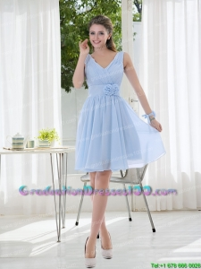 Modest V Neck Chiffon Graduation Dress with Ruching and Hand Made Flowers