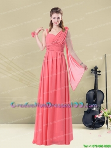 Stunning Asymmetrical Column Ruched Plus size Graduation Dress