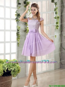2015 Chiffon Sexy Graduation Dresses with Ruching Bowknot
