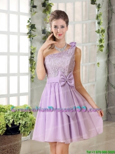 Perfect One Shoulder Lilac Graduation Dress with Bowknot for 2015