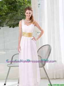 Perfect White Empire Straps Ruching Graduation Dresses