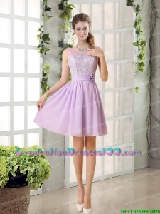 Perfect Unique Graduation Dresses Ruching with Hand Made Flower in Lilac