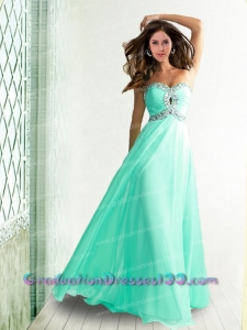 2014 New Empire Sweetheart Beading Apple Green Graduation Dress