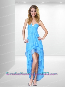 Cheap Empire V-neck High-low Blue Prom Dress with Beading