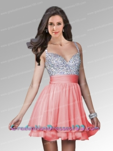 Cute Watermelon A-line Straps Short Prom Dress with Beading