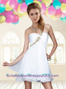Elegant Empire One Shoulder White Chiffon Short Prom Dress
