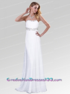 Elegant Strapless Beading White 2014 Prom Dress with Backless