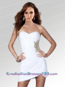 White Column Sweetheart Side Zipper Short Prom Dress with Beading