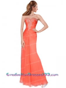 Elegant Column Sweetheart Watermelon Floor-length Prom Dress