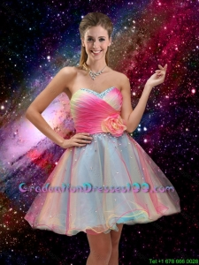 2016 New Style A Line Hand Made Flower and Beaded Graduation Dresses in Multi Color