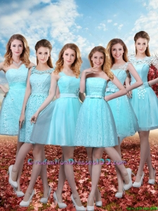 2016 Summer Beautiful A Line Group Buying Graduation Dresses with Belt in Aqua Blue