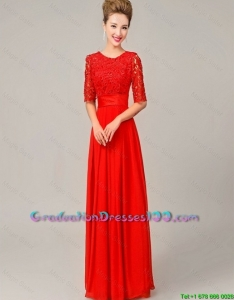 Fashionable Scoop Laced Red Graduation Dresses with Half Sleeves