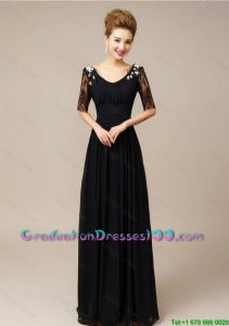 Gorgeous Half Sleeves Laced Black College Graduation Dresses with V Neck