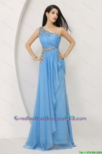 Discount Beaded Baby Blue 2016 Graduation Dresses with One Shoulder