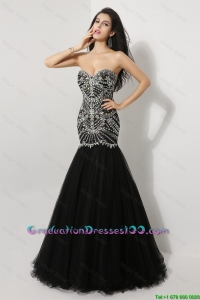 Luxurious Mermaid Sweetheart Beaded 2016 Graduation Dresses in Black