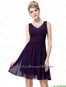 Beautiful V Neck Dark Purple 2016 Graduation Dresses with Ruching