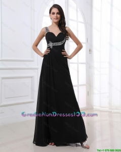 Fashionable Empire Straps Beading Graduation Dresses in Black for 2016