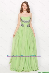 Hot Sale Strapless Brush Train 2016 Graduation Dresses in Apple Green