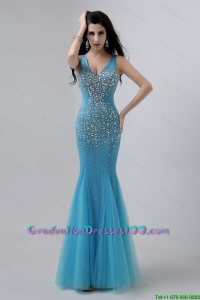 Luxurious Mermaid Beaded 2016 Graduation Dresses with V Neck