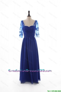 2016 Fall Empire Sweetheart Ruching Graduation Dresses with Half Sleeves in Blue