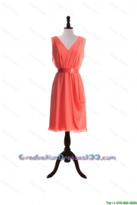 Gorgeous Empire V Neck Graduation Dresses with Sashes in Watermelon