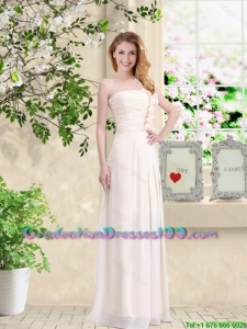 Cheap One Shoulder Hand Made Flowers Graduation Dresses in Champagne