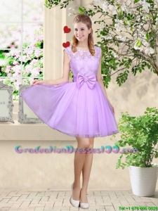 Decent Bateau A Line Graduation Dresses with Lace and Bowknot