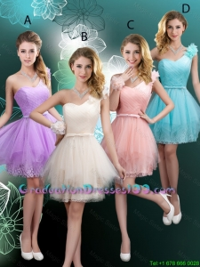 Discount Short One Shoulder Graduation Dresses with Hand Made Flowers