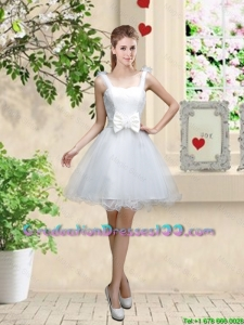 Elegant Straps Graduation Dresses with Bowknot and Hand Made Flowers