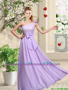 Fashionable One Shoulder Graduation Dresses with Hand Made Flowers