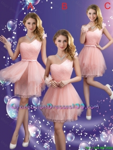 Popular One Shoulder and Belt Graduation Dresses in Pink