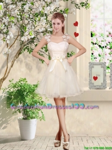 Suitable Straps Appliques and Belt Graduation Dresses with Lace Up