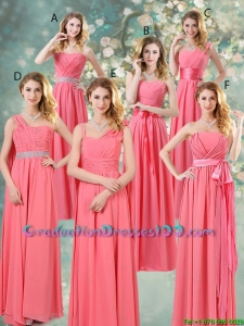 Fashionable Ruched Graduation Dresses in Watermelon Red