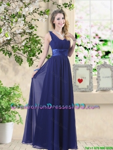 Wonderful Ruched Navy Blue Graduation Dresses with V Neck