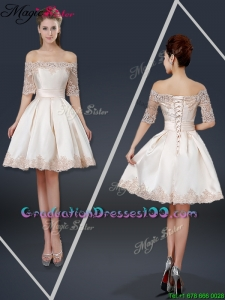 New Arrivals Off the Shoulder Appliques Champagne Short Graduation Dresses
