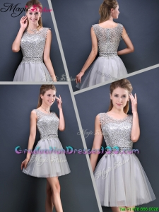 2016 Elegant Mini Length Cap Sleeves Graduation Dresses with Appliques