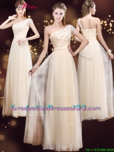 2016 Elegant One Shoulder Graduation Dresses with Appliques and Beading