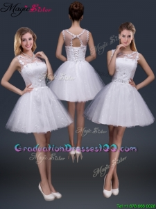 2016 Pretty Short Scoop Appliques Graduation Dresses in White
