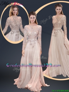 Cheap Brush Train Champagne Graduation Dresses with Beading