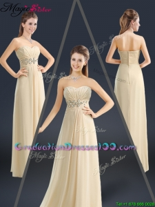 Latest Sweetheart Beading Graduation Dresses in Champagne
