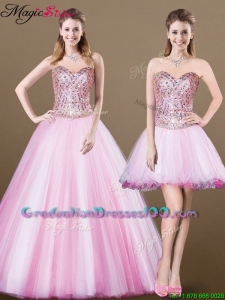 Lovely A Line Sweetheart Beading Detachable Graduation Dresses for 2016