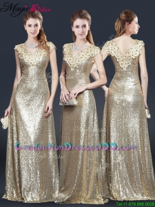 Perfect V Neck Sequins Graduation Dresses in Champagne