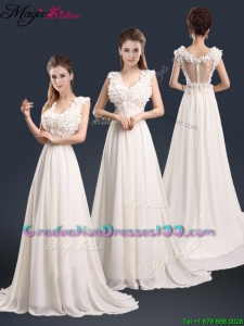 Pretty V Neck Empire Graduation Dresses with Appliques