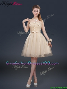Cheap Strapless Best Selling Graduation Dresses with Appliques and Belt